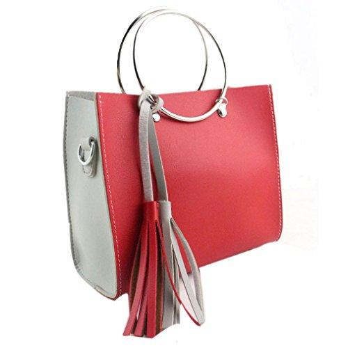 Donna Fashion Hit Colore Nappa Pu Borsa In Pelle Grande Tote Borsa Signore by Kangrunmy Rosso