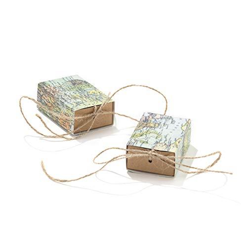 50 pièces boîtes Cube porte-confetti cotillons Thème voyage carte du monde