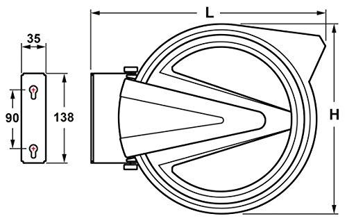 Automatischer Stromkabel Aufroller 10m, 230 V Stromkabel HO5RN-F, Aufroll-Automatik, Wickelrolle, Kabeltrommel, einfache Decken- oder Wandmontage, schwenk-und abnehmbar, Einsatz in Industrie und Werkstatt - 2