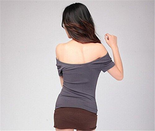 Femmes Sexy Summer Couleur Unie A Manches Courtes Col En V T-Shirt Slim Sexy Tops Chemises Gris fonce