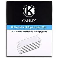 CamKix, inserciones antiempañamiento para GoPro Hero 4 Black, Silver, 3+, 3, 2, 1 y otros sistemas de cámara y vivienda, 20 unidades, reutilizable