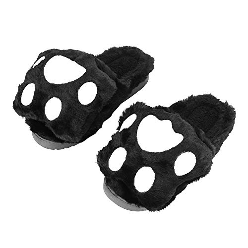 QCHOMEE Unisex Adult Winter Slippers Indoor Indoor Indoor Indoor Bedroom Office Warm Cute Bear Paw Mules Shoes Open Soft Winter Sandals Comfortable Christmas Birthday Gift