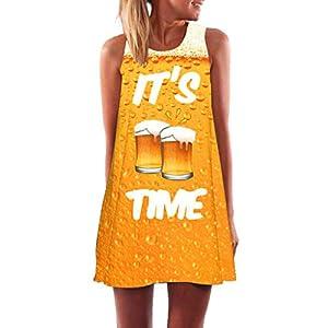 Binggong Kleid Damen, Frauen Lose Sommer Vintage ärmellose 3D Blumendruck Bohe Tank Short Mini Dress Sling Abendkleid Reizvoller Casual Rock Hot