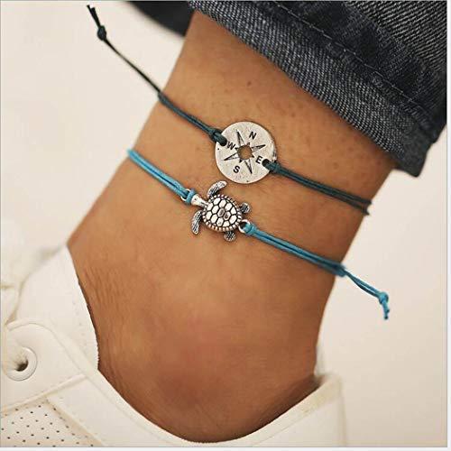 Yean Boho Turtle Fußkettchen Kompass Knöchel Armband Mode Fußschmuck Kette für Frauen und Mädchen
