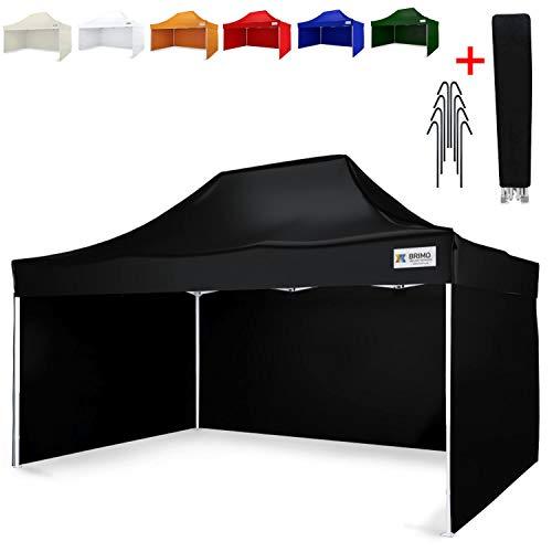 Party Zelt Exclusive BRIMO ® Komplett 3 volle Wände + 8 Verankerungsdübel und Schutzhülse Gratis! (3x4,5m, Schwarz)