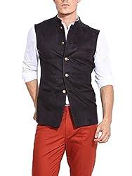 Mr Buttons Mens Slim Fit Nehru Jacket GODNHJ09-L_Black_Large