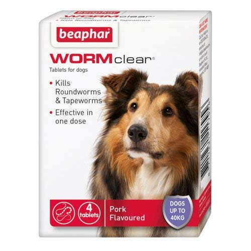 SIPW Vet Strength WORMclear Dog Puppy Worming Wormer Tablets kills Roundworm Tapeworm (4 Tablets)