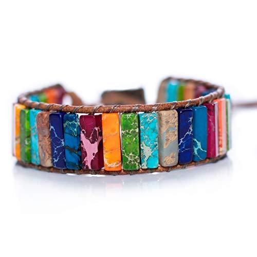 7 Chakra-Armband, Naturstein, echtes Leder, Zink-Legierung, justierbare Armbänder, mehrfarbig, handgefertigt, Chakra-Schmuck, buntes Armband, geeignet als Geschenk für Damen & Herren (14 cm & 15,5 cm)