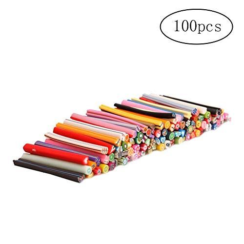 AAGOOD Nette 3D-Früchte Fimo Canes Polymer-Ton Stangen Nail Sticker Dekorative Kunst Nagel Werkzeuge Zufällige Dekoration Style 100 Stück