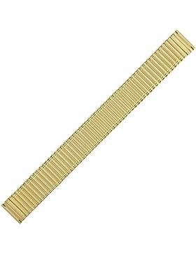 Uhrenarmband 18mm Edelstahl gold - flexibles Uhrband mit vergoldeten Bandgliedern - Marburger Marcoflex Zugband...