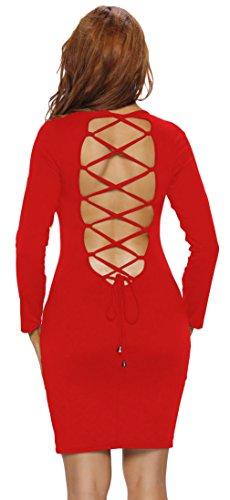 La Vogue Robe Courte Manche Longue Moulant Slim Unie Dos Nu Croisé Décolleté Rouge