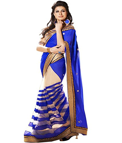 Tryme Fashion Women\'s Net Saree With Blouse Piece (Latest Saree Collecion Zx39_Blue)