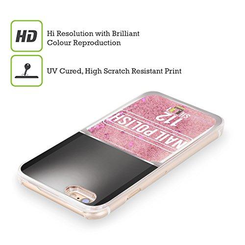 Head Case Designs Rose Vernis À Ongles Étui Coque Liquide Scintillez Rose pour Apple iPhone 6 / 6s Argent Noir