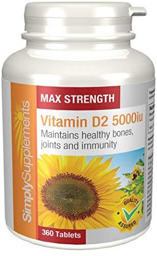 Vitamina D2 5000iu Extra Fuerte - 360 comprimidos - 1 año de suministro - Conocida como la vitamina del sol - SimplySupplements