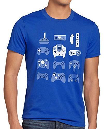 style3 Game Pad T-Shirt Herren controller videospiel spielekonsole, Größe:XL, Farbe:Blau (3ds Xl Mit Mario Party)