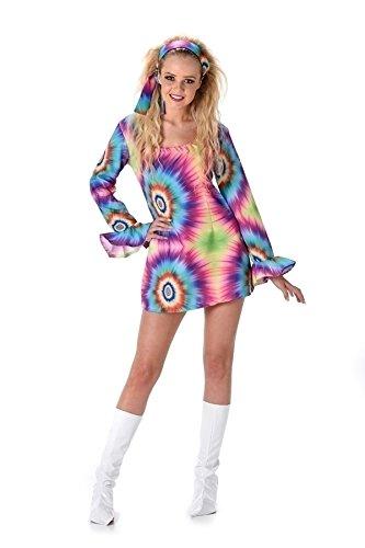 Karnival 811481970's Tye Dye Kleid Kostüm, Frauen, Multi, extra klein