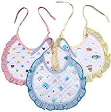 Cotton Bibs with Frill, One Size (Frill Multicolour) - Pack of 3