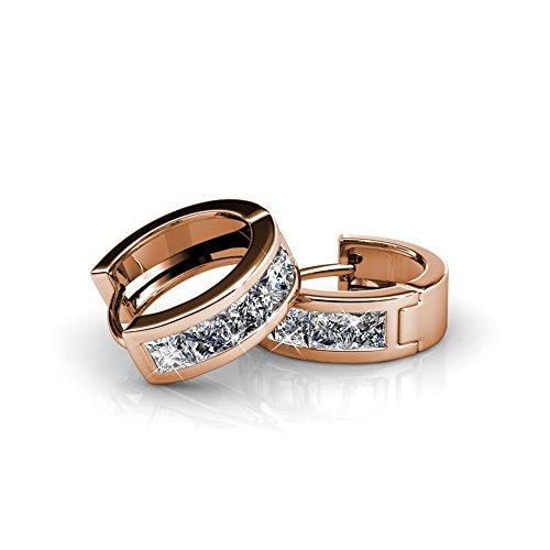 NEVI Women Crystals From Swarovski Brass Hoop Casual/Party Wear Earrings (Rose)