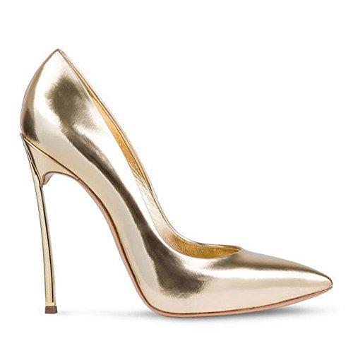 Damen Große Größe Pumps Spitze Zehen High-Heels Stiletto Rutsch Hochzeit Party Glas-Gold