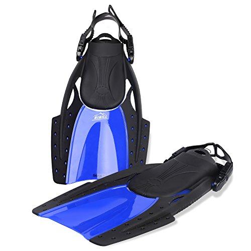 Schwimmflossen hihill Schwimmen Flossen Durable Anti-slip swim fin für Schnorcheln Tauchen Schwimmen und Wassersport, Größe L und XL (fp-f1) - Verstellbare Kurze