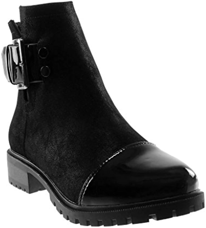 Angkorly - Damen Schuhe Stiefeletten - Chelsea Boots - Biker - bi-Material - Schleife - Nieten - Besetzt - Patentö