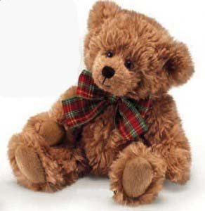 Russ Berrie Extra Soft Teddy Bear with Plaid Bow 8 (Light Brown) by Russ Berrie - Brown Plaid Bow