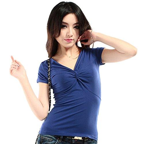 Femmes Sexy Summer Couleur Unie A Manches Courtes Col En V T-Shirt Slim Sexy Tops Chemises Saphir