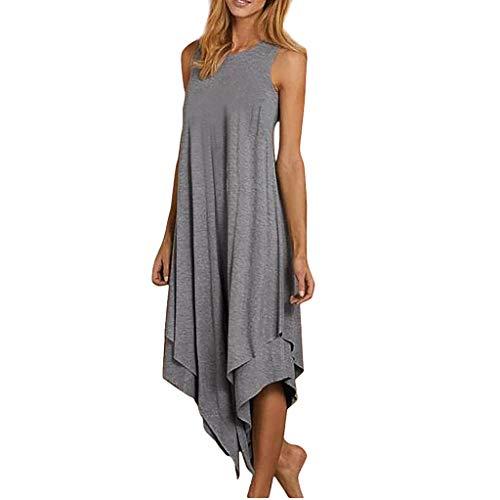 Damen Sommerkleid, Mode Frauen Brief gedruckt Tank Top Kleid ärmellose Oansatz lässige Kleidung -