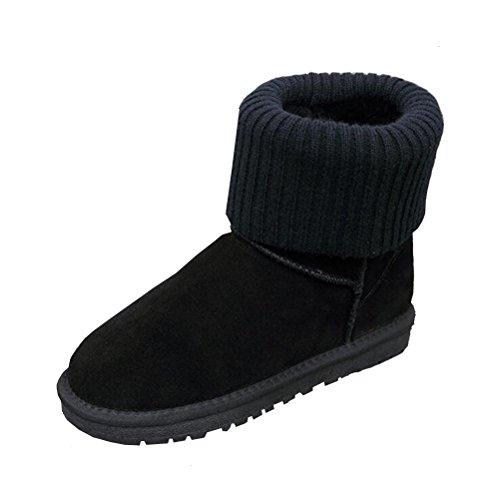 Vogstyle Donna/Signora Stivali Da Neve Caldo Scarpe a Collo Alto Stile 2-Nero