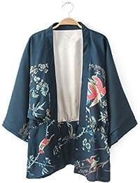 Giacca Chimono Vintage Bella Kimono Manica Ricamato Donna Fenice Phoenix Cardigan Batwing Stampato Giapponese IeEDYbWH29