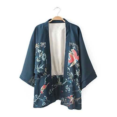 Bella Kimono Donna Kimono Giapponese Chimono Cardigan Vintage Fenice Phoenix Stampato Ricamato Batwing Manica Giacca