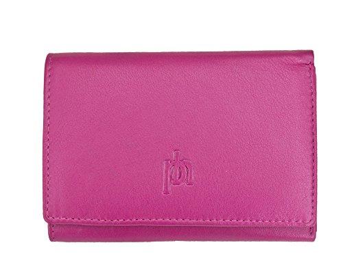 Femme Tri-plis en cuir souple avec porte-monnaie en cuir Premium Rose - Fuchsia