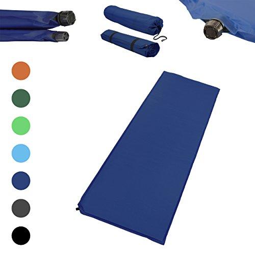 Outdoor Isomatte, selbstaufblasend, ca. 2 m Länge, inkl. Flick Set - selbstaufblasbare Luftmatratze geeignet zum Camping und fürs Zelt mit kleinem Packmaß (dunkelblau, 10 cm Polsterdicke)