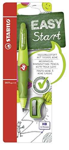 Ergonomischer Druck-Bleistift für Rechtshänder - STABILO EASYergo 3.15 in hellgrün/dunkelgrün - inklusive 1 dicken Mine - Härtegrad HB & Spitzer