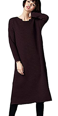 Voguees Women's Long Sleeve Kniting Sweaters With Side Slits Coffee