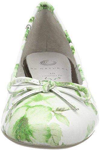 Be Natural 22141, Ballerine Donna Verde (Green Flower)