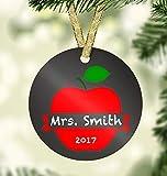 Dkisee Unique Embellishments Round Shaped Ceramics Porcelain Ornament Best Teacher Ornament Holiday Decor