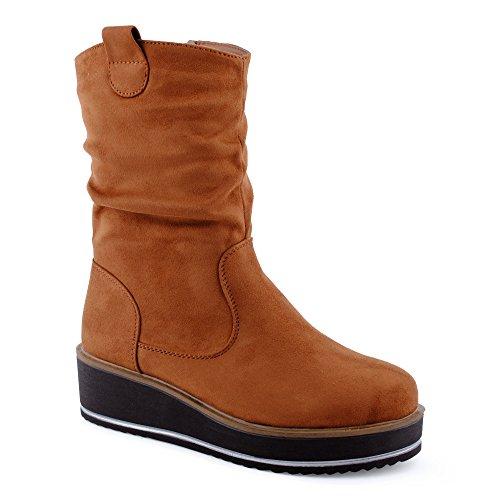 Damen Stiefeletten Schlupf Stiefel Reißverschluss Dicke Plateau-Sohle Velours-Optik Boots Schuhe Kamel