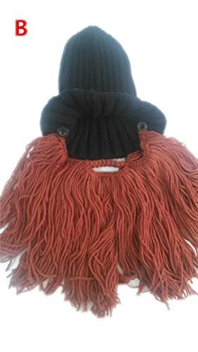 Lustige Handgemachte Winter Warme Frauen Männer Kinder Wolle Schnurrbart Strickmützen Pirate Gesichtsmaske Perücke Bart Mützen Viking Horn Motorhaube Caps Adult 001 Type ()