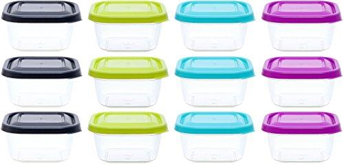 idea-station contenitori in plastica per alimenti, 300 ml, 12 parti, colorato, quadrato, impilabile, contenitori alimenti freezer, vaschette plastica per alimenti, barattolini plastica con coperchio