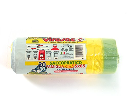 VIROSAC Rotolo 20 sacchi 55x65 immondizia giallo Bidoni sacchi spazzatura immondizie