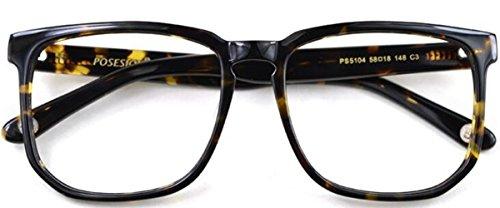 J&L GLASSES Retro Klassisches Nerd Klar Hornbrille Brille mit Fensterglas Damen Herren Brillenfassung holz 5104 (Leopard)