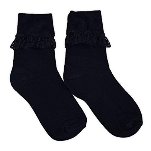 Schwarz Und Rot Rüschen-socken (adam & eesa 1 Paar niedliche Socken mit Rüschen für Mädchen und Frauen in verschiedenen Farben und Größen erhältlich)