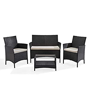 SVITA Brooklyn Gartenmöbel Poly Rattan Sitzgruppe Essgruppe Set Sofa-Garnitur Lounge Braun, Grau oder Schwarz (Grau)