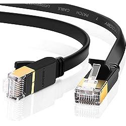 UGREEN CAT 7 Plat Câble Ethernet Réseau RJ45 Haut Débit 10Gbps 600MHz UFTP 8P8C Compatible avec Nintendo Switch Routeur Modem Switch TV Box PC Xbox PS3 PS4 Consoles de Jeux, Noir (1M)
