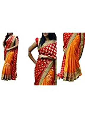 I-Brand Georgette Saree With Blouse Piece (Isunsa1939-Ib_Orange_Free Size)