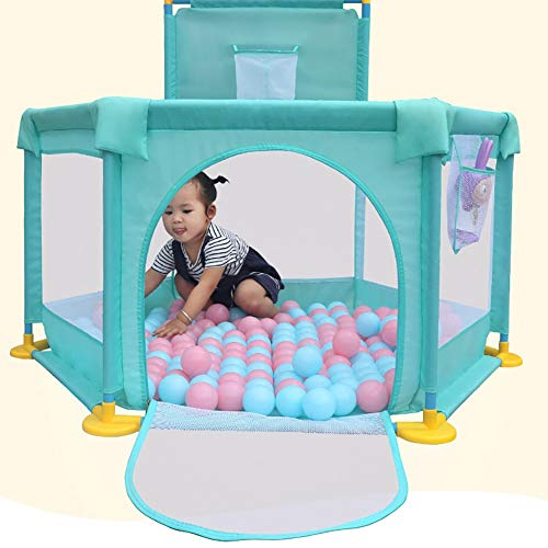6-panel Playpen with Basket Hoop,baby Toddler Security Play Yard, Big Feet Anti-rollover Children's Game Fence (color : GREEN, Size : Playpen+mat)  BSNOWF