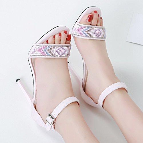 Estate delle signore rivelano le dita dei piedi Word fibbia con tacco Belle Nude color