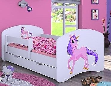 naka24 HB Kinderbett Einhorn mit Matratze und Bettkasten/viele Variante (Weiss, 80 x 160 cm)