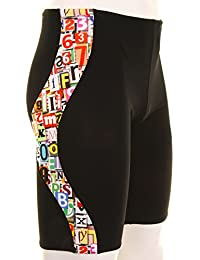 Maru Alphabet Pacer Jammer Swimsuit for Men Black/Multi-Coloured